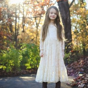 Other - Long sleeve lace overlay maxi dress, ivory 5T